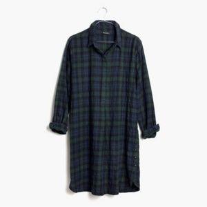 Madewell Flannel Shirtdress Dark Plaid 90s Grunge